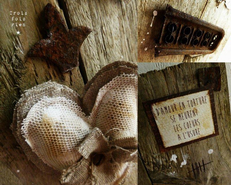 A l'usure, assemblage bois tissus, récup', rouille, coeur 4