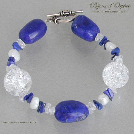 bracelet fantaisie lapis lazuli cristal de roche