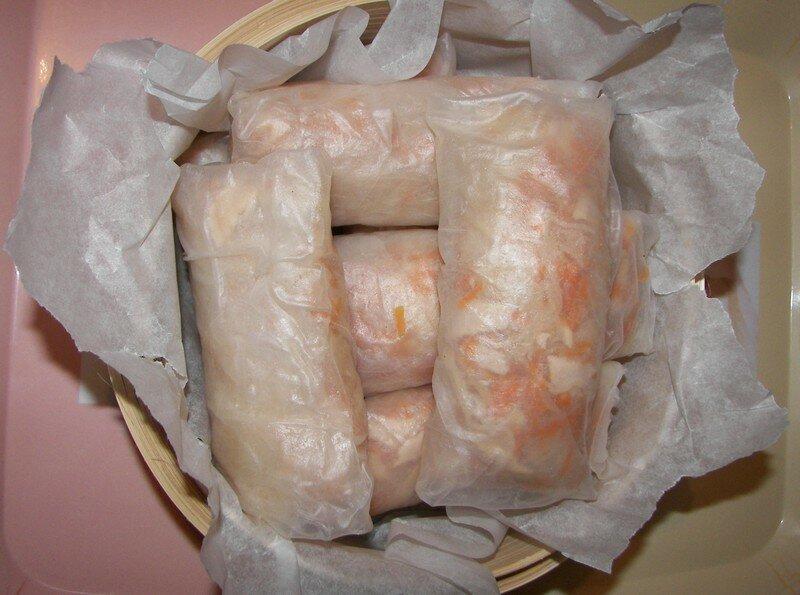 Rouleaux carottes/vermicelles de riz à la vapeur