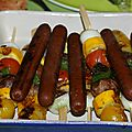 Idée repas brochettes de légumes et merguez wheaty