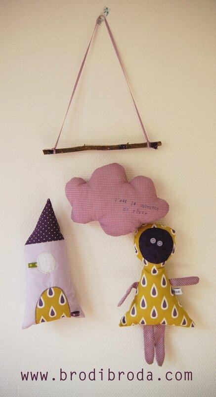 Brodi Broda-mobile chambre enfant-cadeau naissance personnalisé-maison violette2