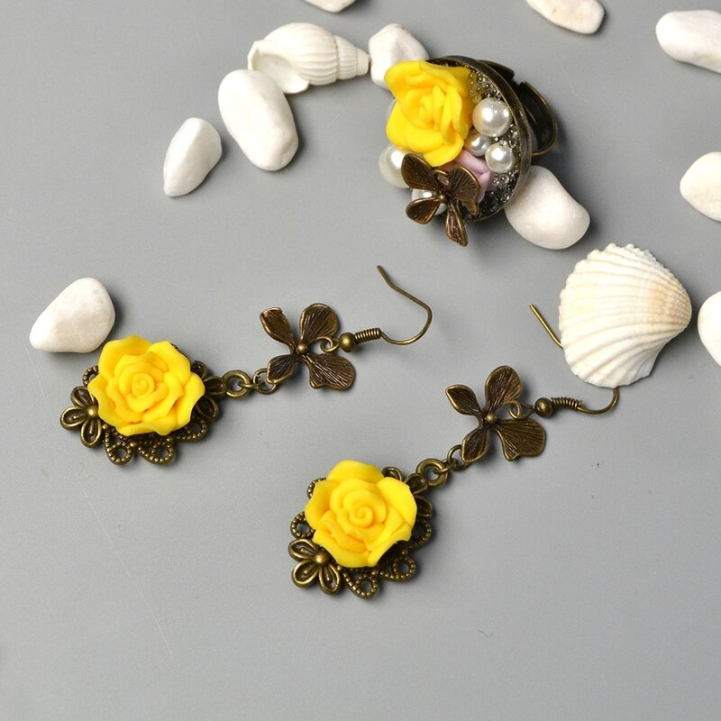 Resin-Bead-Flower-Earring-and-Ring-Set-5