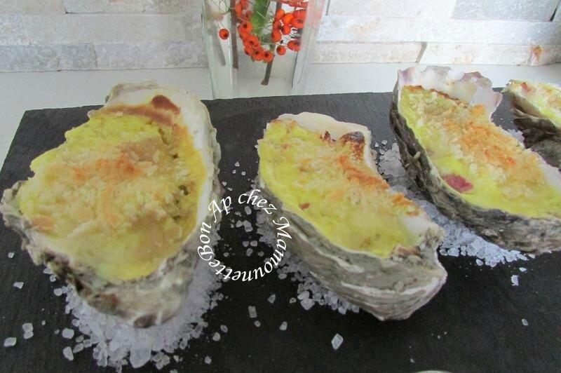 Huîtres chaudes curcuma aux lardons et mascarpone 016