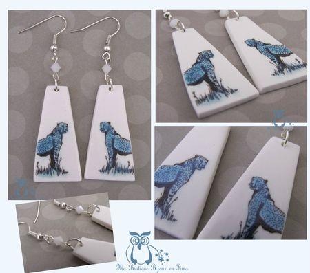 Boucles guépard bleu blanc