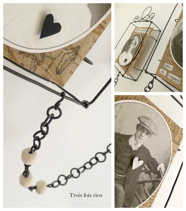 Mini box, boîtes fil de fer, wire box, portraits anciens, old photographies, lovers, les amoureux, trois fois rien (5)
