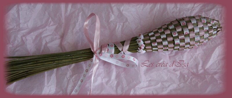 navette rose 2 rubans