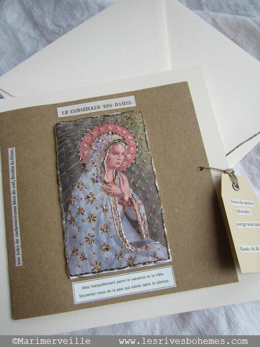 carte marimerveille Vierge brodée