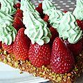 Une tuerie, une explosion, un délice (non ce n'est pas trop): la tarte fraise-pistache d'après christophe michalak