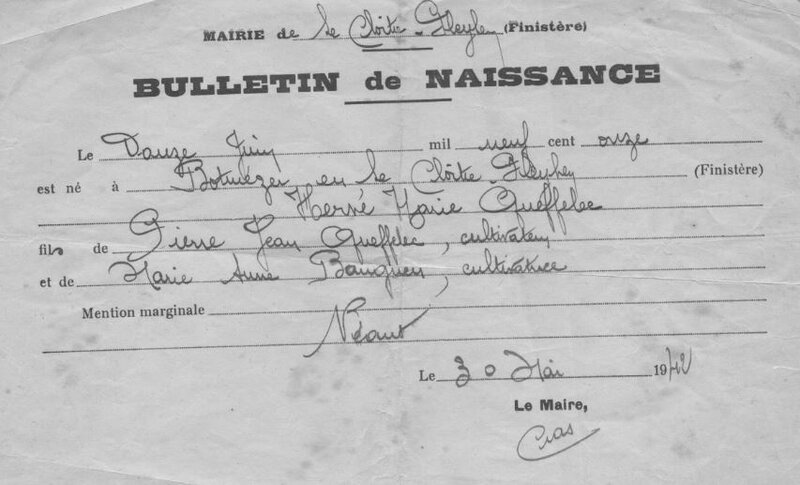 1911 au Cloître Pleyben certificat N Hervé Queffelec
