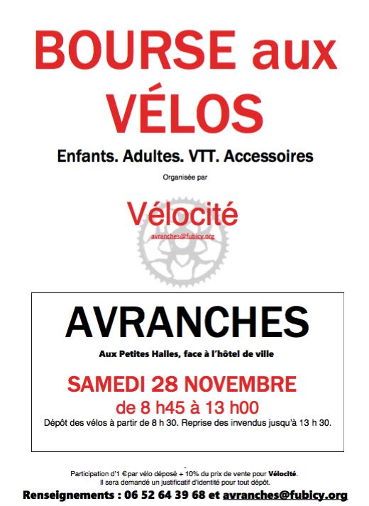 bourse vélo Avranches vélocité 28 novembre 2015