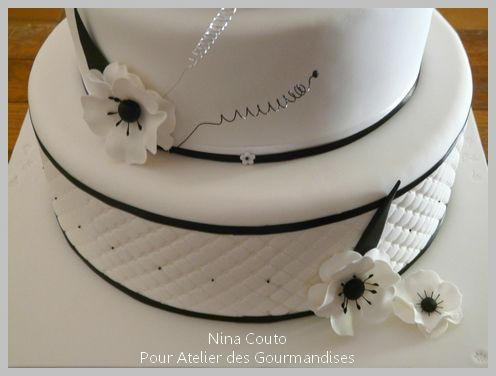 Gâteau de mariage Montpellier / Noir et blanc - Atelier des ...