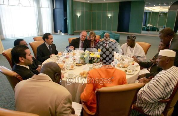 Prince Moulay Rachid, Jacques Chirac, Abdoulaye Wade, Malian President, Nigerian President, President Maouiya Ould Taya of Mauritius attend an informal meeting 2/4/2005 as part of