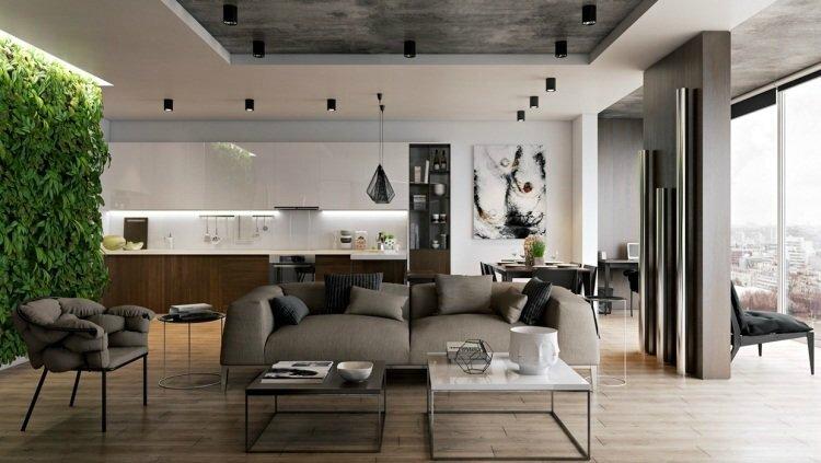 studio-moderne-blanc-gris-décoré-mur-végétal-intérieur