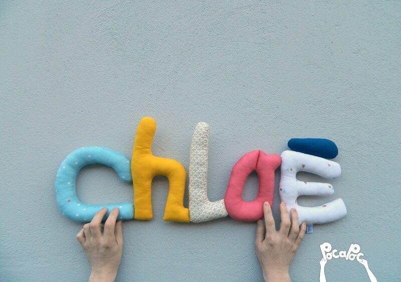 chloe, mot en tissu,mot decoratif,cadeau de naissance,decoration chambre d'enfant,cadeau personnalise,cadeau original,poc a poc blog 1