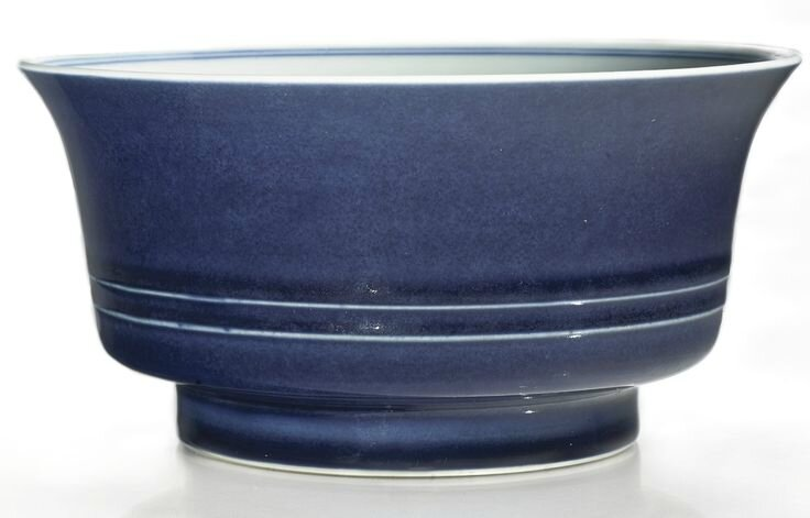 A blue-glazed bowl, Yongzheng mark and period