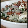 P'tit risotto vert épinards, bacon et chèvre frais