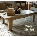 Table basse en planches de chantier récupérées