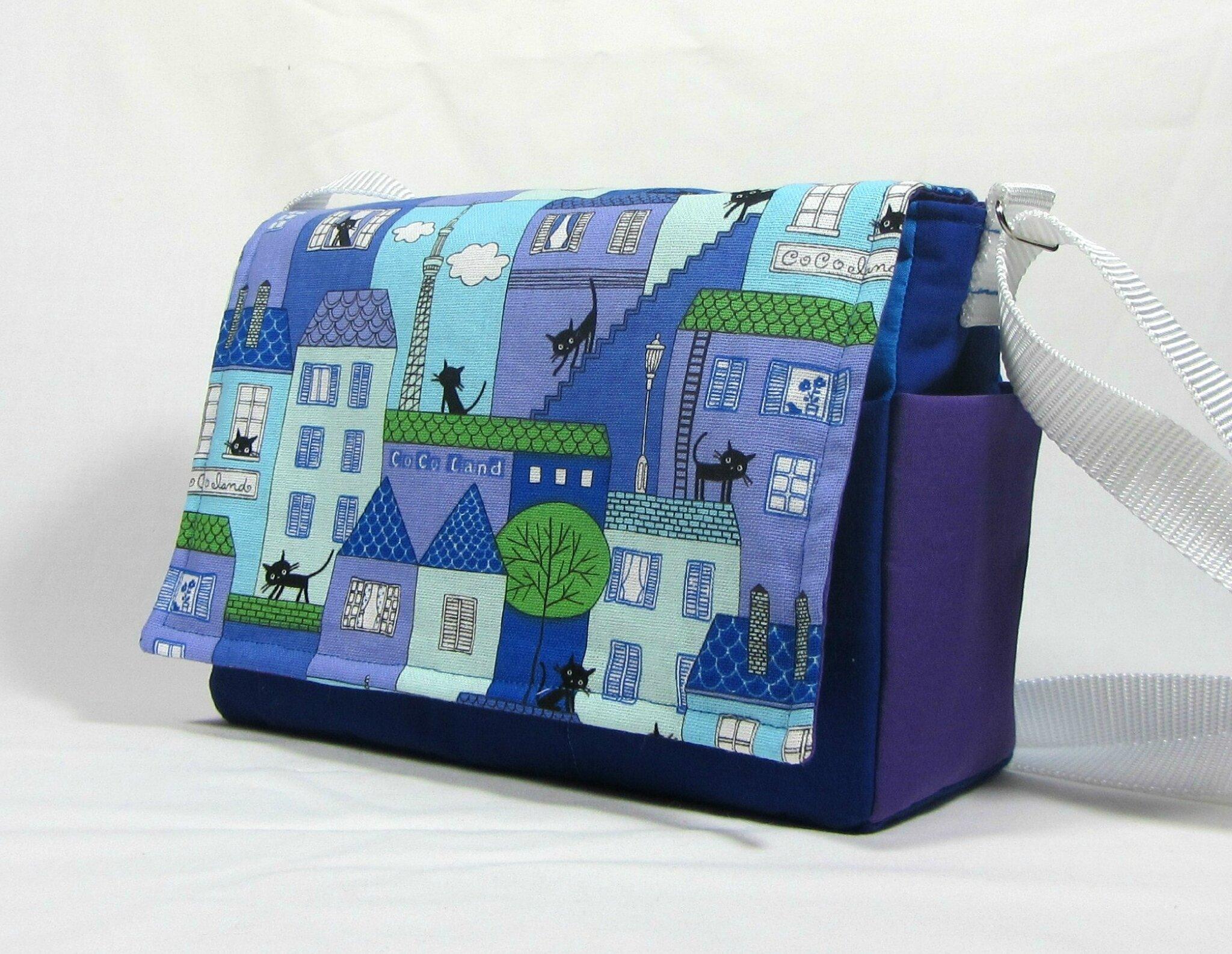 Sac besace,pocket bag bleu