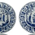 A pair of blue and white decorated deep porcelain plates, China, underglaze blue Kangxi six-character marks and period