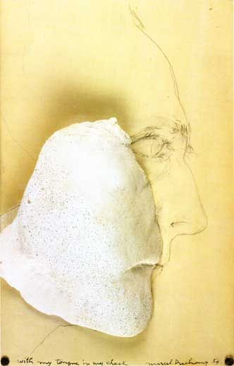 67. Marcel Duchamp, With my Tongue in my Cheek, 1959.