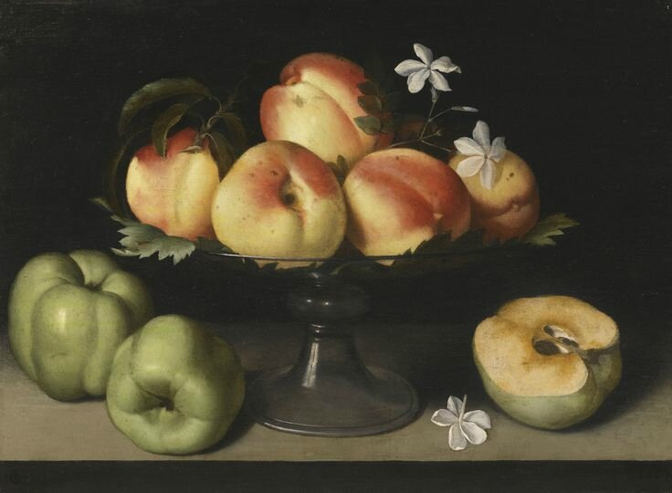 Fede Galizia (Milan 1578 – 1630), A Crystal fruit stand with peaches, quinces, and jasmine flowers