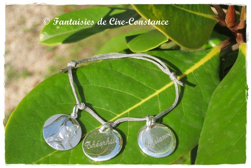Bracelet nylon gris médailles argent Vierge