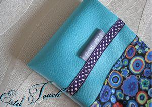 porte chéquier long turquoise1