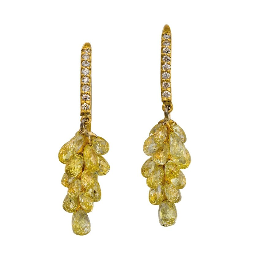 Pair of platinum, fancy yellow diamond and diamond earrings