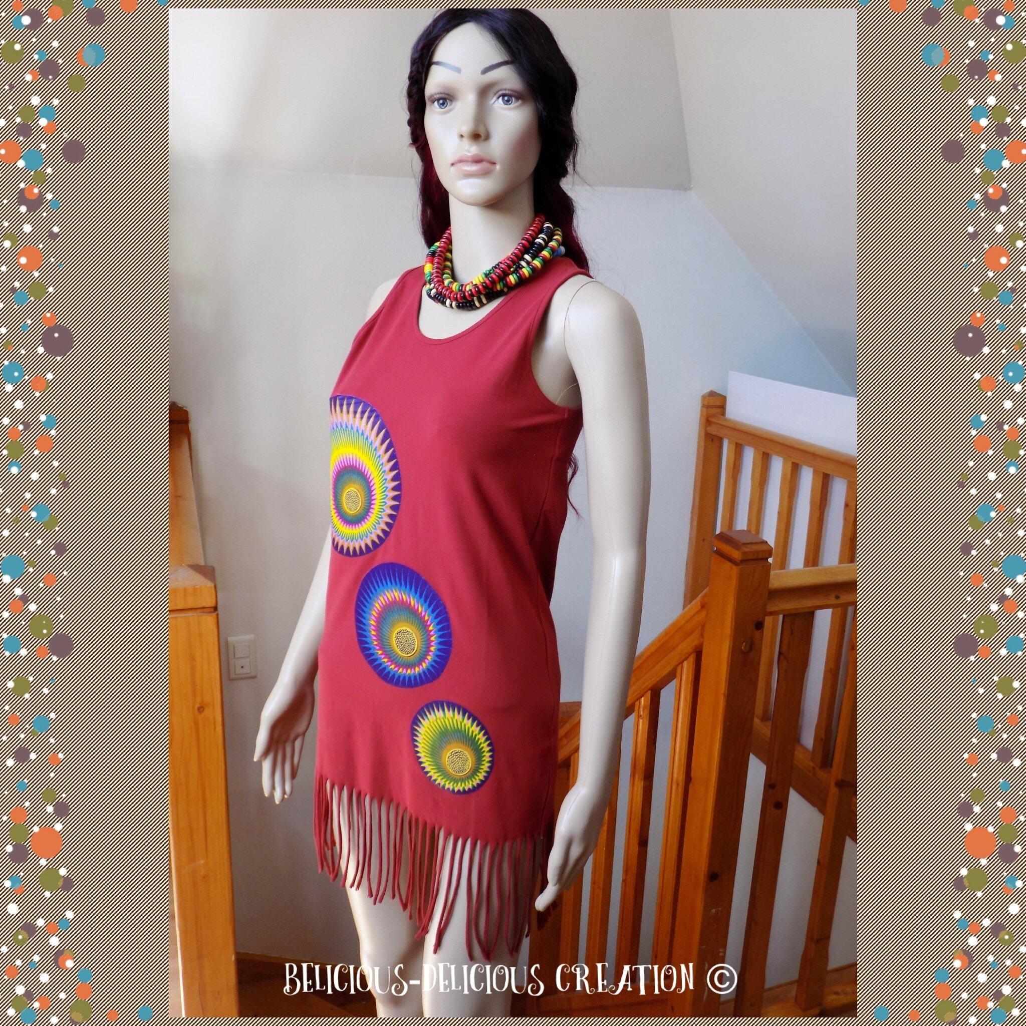 Originale Top !! AFROWAX !! en coton rouge/multicolore, Long 88cm Taille: 38 belicious-delicious-creation
