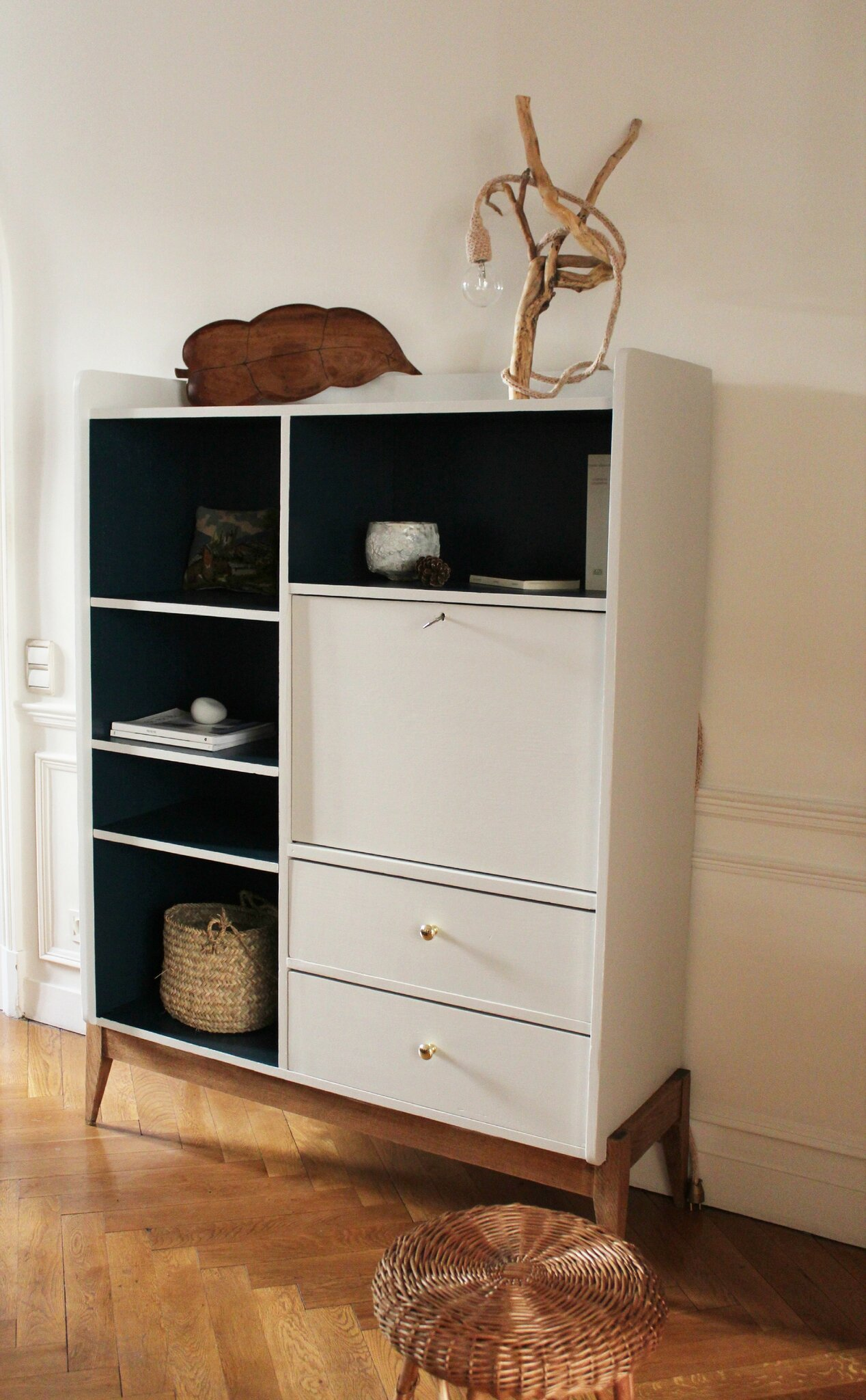 amoire biblioth que secr taire vintage ann es 50 trendy little. Black Bedroom Furniture Sets. Home Design Ideas
