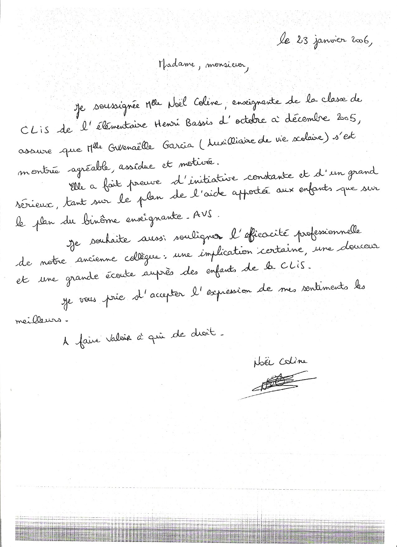 lettre de recommandation en espagnol AVS en CLIS (groupe scolaire Henri Bassis de Champigny sur Marne  lettre de recommandation en espagnol
