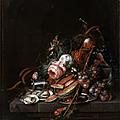 Cornelis de heem (leyde, 1631 - anvers, 1695), nature morte d'huîtres, raisins, melon, cerises et roses sur un entablement