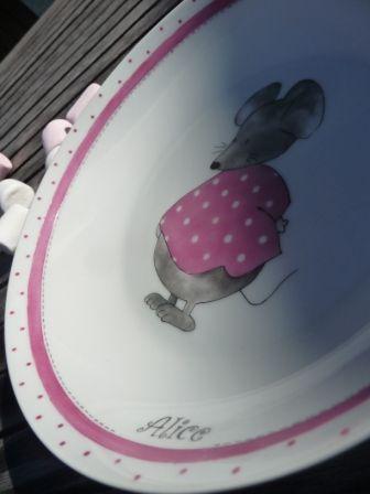 Assiette souris rose pour Alice