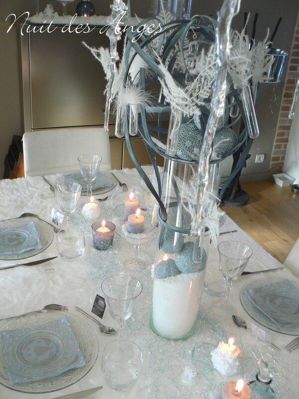 Nuit des anges décoration de table bleue 008
