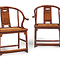 An extremely rare and important set of four huanghuali horseshoe-back armchairs, quanyi, china, ming dynasty, 17th century
