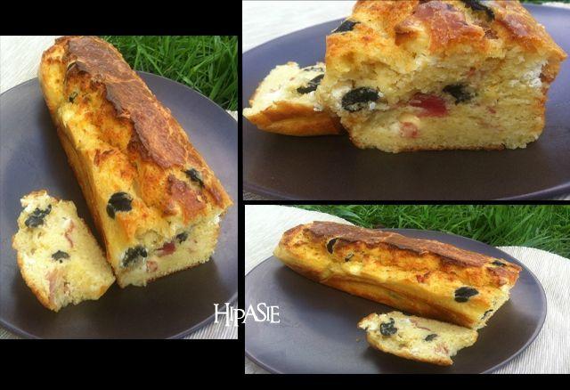 cake sal au jambon cru ch vre et olives quand hipasie cuisine. Black Bedroom Furniture Sets. Home Design Ideas