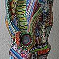 Hervé Tharfel SCHMIMBLOCK'S totem 2013 - 23,5 cm x 6,4 cm - gouache T7 sur argile