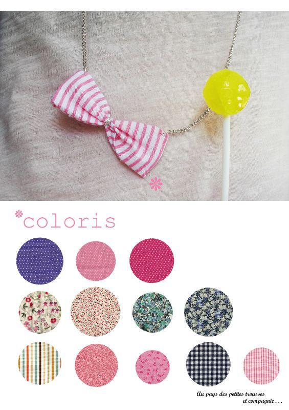 Le sautoir noeud tissu et ses coloris