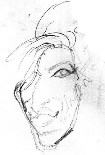 Amy Winehouse caricature crayon