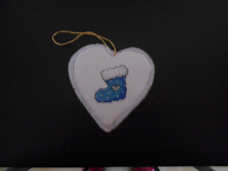 coeur chaussette bleu