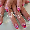 French tri-color corail, violet et fushia, gel