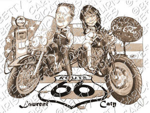 harley davidson road king faire part mariage caricaturiste betty caricatures. Black Bedroom Furniture Sets. Home Design Ideas