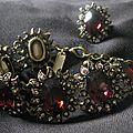 2185/ ensemble bracelet et bague cristaux et strass