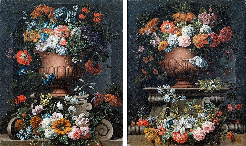 Gaspar Peeter Verbruggen (Anvers 1664-1730), Bouquets de fleurs dans des vasques en pierre dans une niche