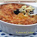 Gratin de pommes de terre au yaourt de chèvre et olives noires