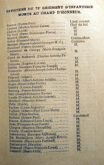 Officiers du 72ème RI.