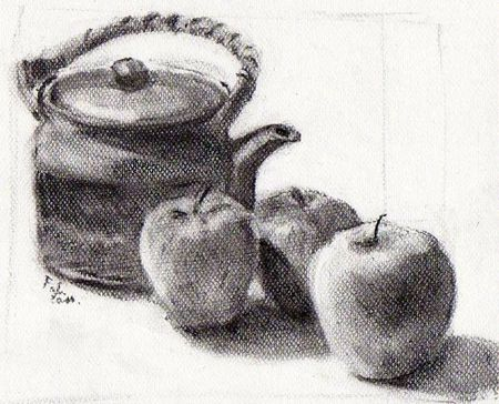 Nature morte au fusain le trait vagabond - Dessin de nature morte ...