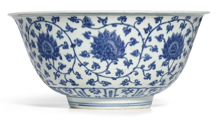 A large blue and white 'Lotus' bowl, Mark and period of Jiajing