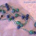 Collier mosaïque bleu vert