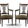 Paire de fauteuils. estampillés g. jacob. fin de l'époque louis xvi.